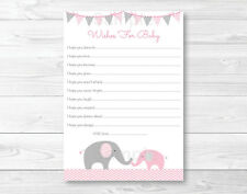 Pink Elephant Chevron Printable Baby Shower Wishes for Baby Advice Cards