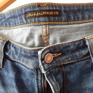 "Nudie jeans 36"" waist 34"" leg,Skinny Lin Dark deep Worn Vg condition"
