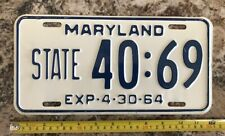 1964 MARYLAND license plate     STATE # 40:69    EXCELLENT +++