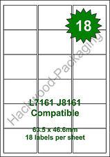 18 Labels per Sheet x 50 Sheets L7161 / J8161 White Matt Copier Inkjet Laser
