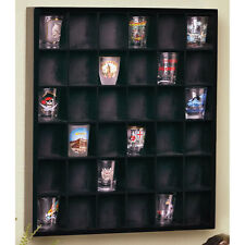 COLLECTORS 36 SHOT GLASS DISPLAY SHELF BAR CASE CABINET CURIO RACK Man Cave