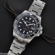 40mm Sapphire Glass Parnis Ceramic Bezel GMT Style Men's Date Auto Wrist Watch