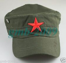 New Chinese Men's Green Red Star Army Linen Sun Visor Hat Cap