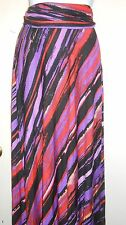 NY Collection Ladies Roll Over Waistband Long Skirt Multi-Color Large (L) NWT