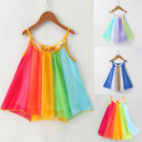 Toddler Kids Baby Girls Princess Clothes Sleeveless Tutu Rainbow Dresses