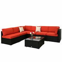 Patio Sofa Set 2-7PCs Outdoor Furniture Set PE Rattan Wicker Cushion Orange