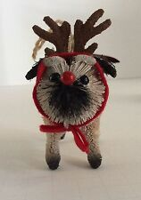 POTTERY BARN BOTTLE BRUSH PUG Christmas ORNAMENT  NEW NWT