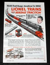 1953 OLD MAGAZINE PRINT AD, LIONEL TRAINS, WITH MAGNE-TRACTION, WORLDS FINEST!