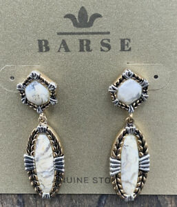 Barse Iconic Earrings- African Opal- Mixed Metals- NWT