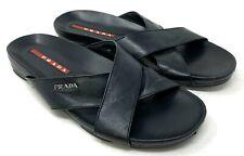 Authentic PRADA Logo Slide Sandals Flats #8 US 8.5 Leather Black Rank AB