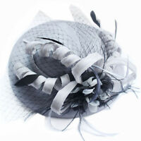 Beautiful Grey Flowers & Black Lacy Ribbon Party / Melbourne Cup Hat