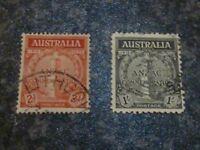 AUSTRALIA POSTAGE STAMPS SG154-5 2D & 1/- FINE USED