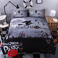 3D Halloween Witch Broom Pumpkin Quilt Cover Flat Sheet Pillowcase Bedding Set