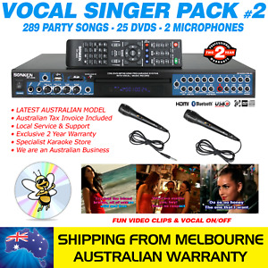 VOCAL SINGER MP4000 KARAOKE MACHINE 289 PARTY SONG PACK, 2 MICS, BLUETOOTH