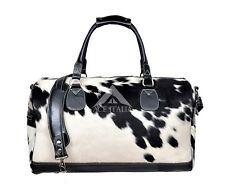 Holdall Men's COW Fur Weekend Real Cowhide Leather Large Black Duffle Travel Bag