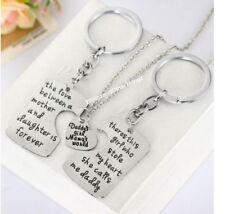 3pcs 🇨🇦🇨🇦Daddys Girl Mommys World Necklace Key Chain Dad Mother Daughter