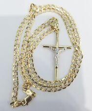 "Real 10k Yellow White Gold Cross Crucifix Jesus Pendant Charm + 20"" Cuban Chain"