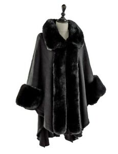 Victorian Trading Co Faux Fur Trimmed Black A Winter's Stroll Cape 26A