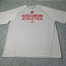Adidas mens T shirt Adult X Large Grey WISCONSIN ATHLETICS short sleeve Size XL