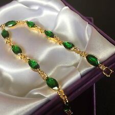 "GB Green marquise emerald + diamante 7"", 18k gold filled bracelet BOXED Plum UK"