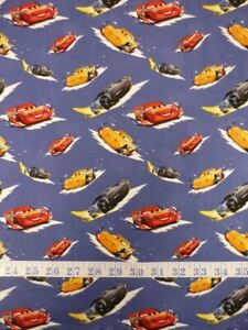 Disney Cars Toss Blue Background Cotton Quilting Fabric 1/2 YARD