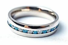 Men Titanium Ring Blue Sapphire CZ Classic Wedding Engagement Band Ring
