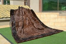 "Natural Muskrat Musquash Mink Real FUR Blanket King Throw 88""x77"" rug B3771"
