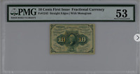10 Cents 1st Issue Fractional Currency Straight Edge W/ Monogram Fr#1242 PMG 53
