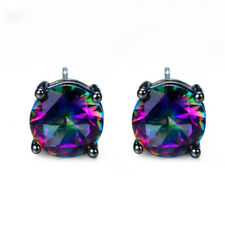 Mystic Rainbow Round Zircon Black Filled Gold Stud Earrings