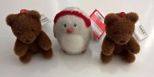 M&S - Christmas Novelty Decorations x 3 - Bear & Perry the Penguin 9-10cm