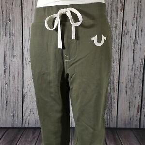 Men's True Religion Sweatpants in Khaki Green Cotton Joggers Track Lounge Pants