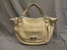 Auth COACH Kristin Woven Leather Round Satchel 19312 Beige Leather Handbag