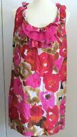 Ann Taylor Loft Women's Medium bright pink red modern floral sleeveless dress
