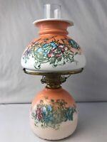 """Antique P&A Co Coral Peach Color FLORAL Victorian Glass Oil Lamp 15""""H Vintage"""