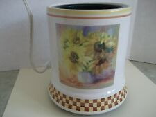 Ceramic Electric Large Candle Warmer Cord w/Switch~SUNFLOWERS-PLAID BOTTOM~NICE!