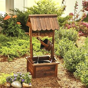 Wishing Well Wooden Water Fountain with Pump Patio Yard Outdoor Water Cascade
