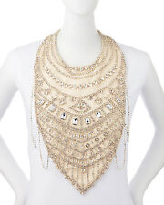 Haute Hippie Crystal Chain Bib Necklace Choker $565 NYE  Size 0S