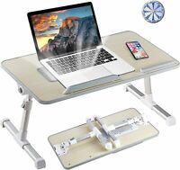 Folding Laptop Bed Tray Table Portable Lap Desk Notebook Cooling Fan Slot UK