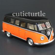 Kinsmart 1962 VW Volkswagen Classic Bus Samba 1:32 Diecast Toy Car Black Orange