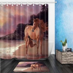 Brown horse on beach 3D Print Bathroom Shower Curtain Waterproof Fabric & Hooks
