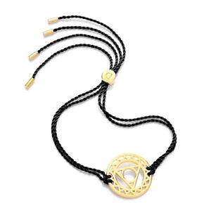 Daisy Jewellery NEW! Black Cord Gold Plated Throat Chakra Adjustable Bracelet