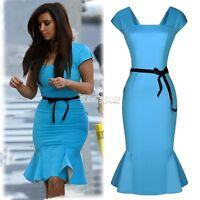 Summer Ladies Peplum Bodycon Pencil Skirt Knee Falbala Business Party Dress EA