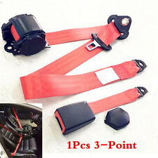 1Pcs Red 3 Point Auto Car Safety Straps Front Seat Belt Buckle Kit Retractable