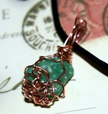 UNIQUE HAND-CRAFTED COPPER WIRE-WRAPPED AMAZONITE PENDANT  1-1/4 Inches