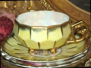 Royal Sealy 3 Footed YELLOW IRIDESCENT & GOLD Beehive Tea Cup and Saucer Vintage