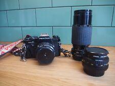 Pentax Super-A 35 mm SLR Film Camera avec lentilles PENTAX 50 mm & 28 mm Sigma 70-210