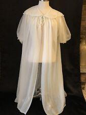 Miss Siren Vintage Womens Nylon Robe White Size Small Double Chiffon