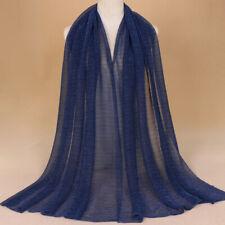 Women Ladies Glitter Scarf Pleated Shimmer Long Crinkle Hijab Shawls Head Wraps