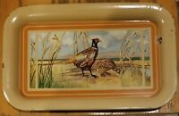 "Vintage 1950's Metal TV Serving Tray with Pheasant Design 14"" x 8.75"""