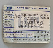 The Talking Heads Rare Concert Ticket Stub Clarkston, Mi 08/11/1983